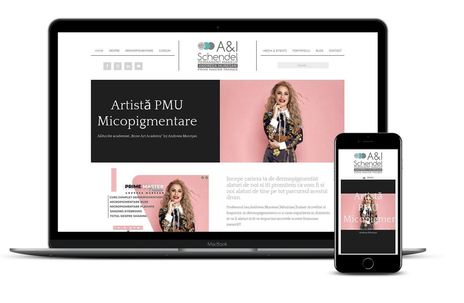 Website de prezentare cursuri și evenimente