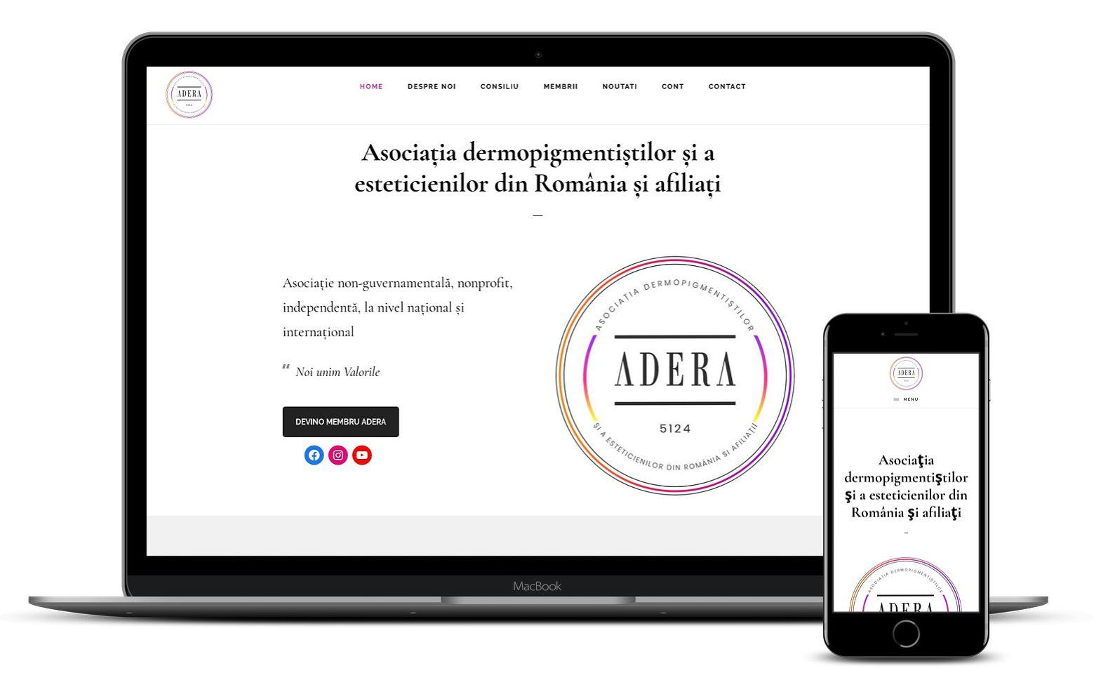 Website asociația non-guvernamentală ADERA