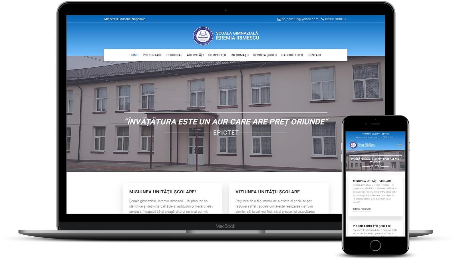 Website scoală gimnazială Ieremia Irimescu