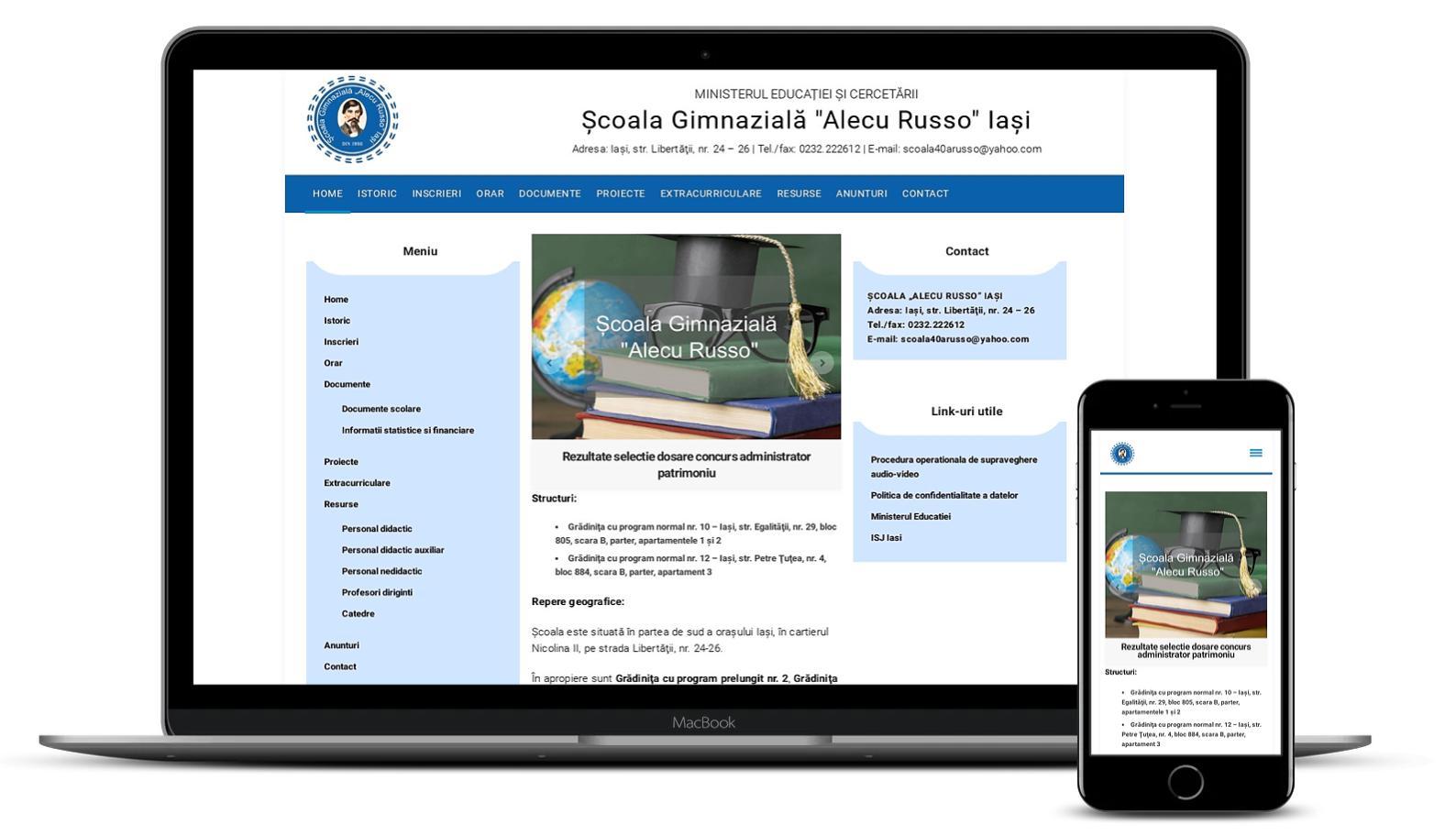 """Site web Scoala Gimnaziala – """"Alecu Russo"""" Iasi"""