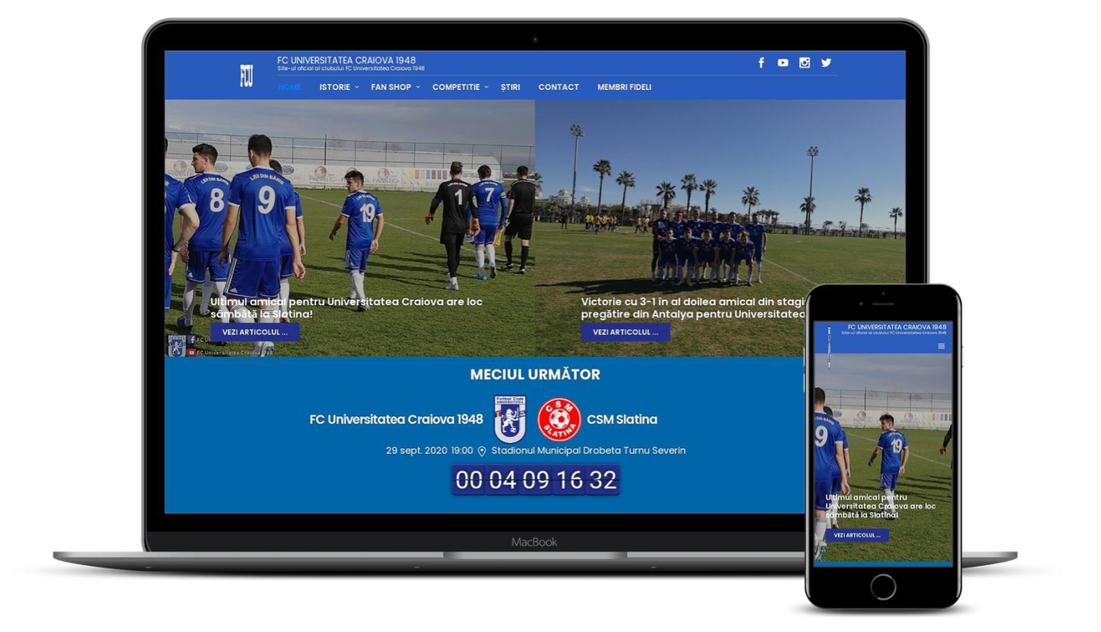 Refacere website echipa de fotbal