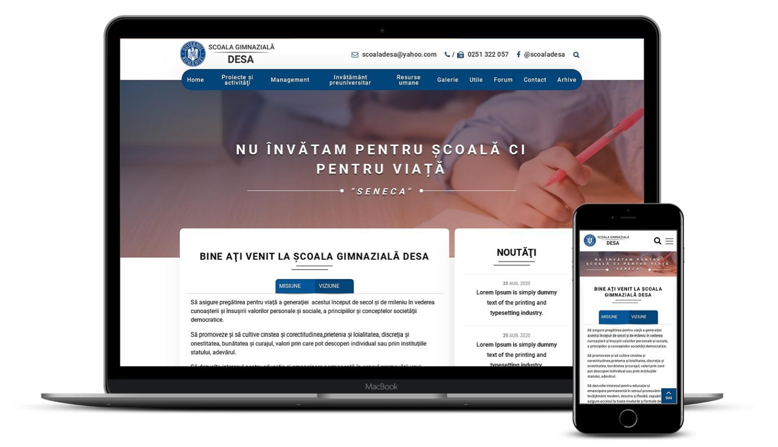 Creare site de prezentare pentru Scoala Gimnaziala