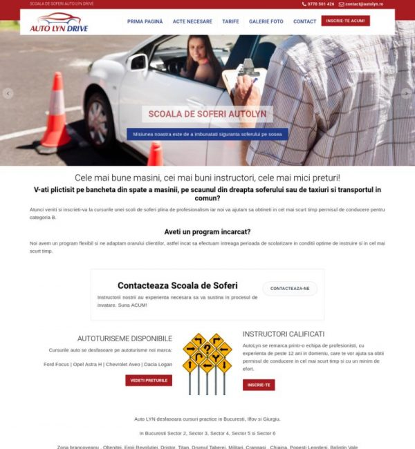 Web design site scoala auto